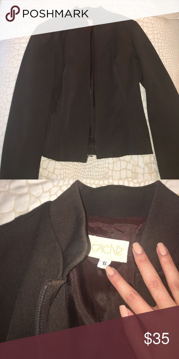 Cache Brown Zip Up Blazer Gorgeous brown zip up blazer. Fit to perfection Cache Jackets & Coats Blazers