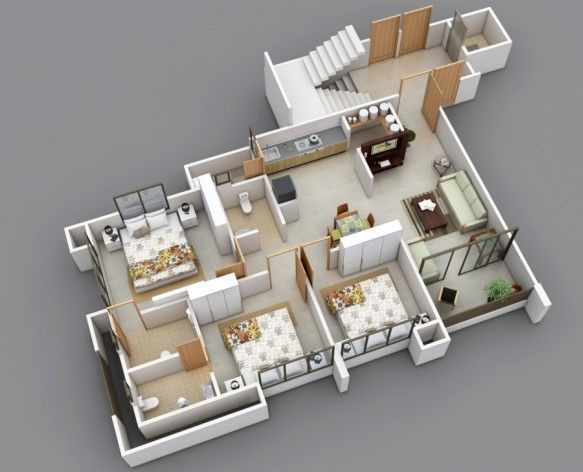 denah apartemen 3 kamar tidur minimalis 3d 2 rumah luas