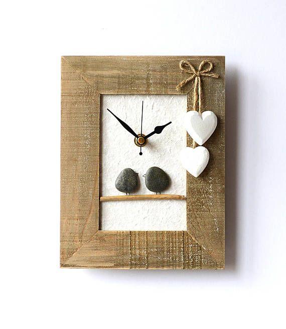 Pebble Art Clock Pebble Birds Framed Pebble Art 3D Clock