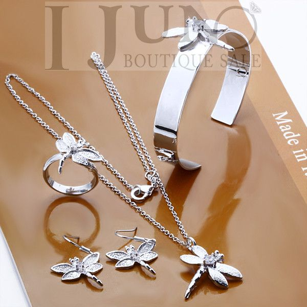 2015 Actual High Style Romantic Jewellery Units 925 Jewellery Set, Style Set Dragonfly Ring Earrings Bracelet Necklace Free Delivery - Silver Jewellery 925 - SHOP NOW