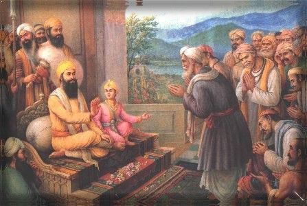 Kashmiri Brahmins, led by Pundit Kirpa Ram came to Guru Tegh Bahadur at Anandpur in 1675 for protection against atrocities of Aurungzeb. More Information visit : http://www.sikh-history.com/sikhhist/gurus/nanak9.html