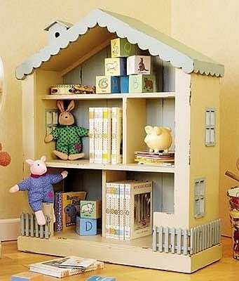 bookshelf dollhouse ~ idea for the roof & fence below ~ along with cool colors!
