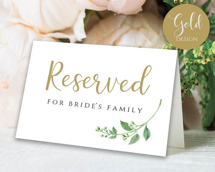 Gold reserved sign reserved printable reserved wedding