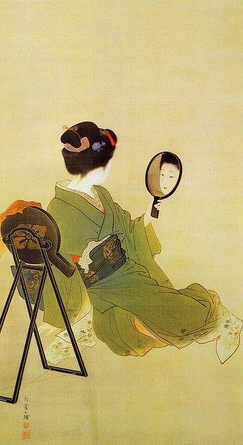 Uemura Shoen (1875-1949) (Japanese woman looking in a mirror)