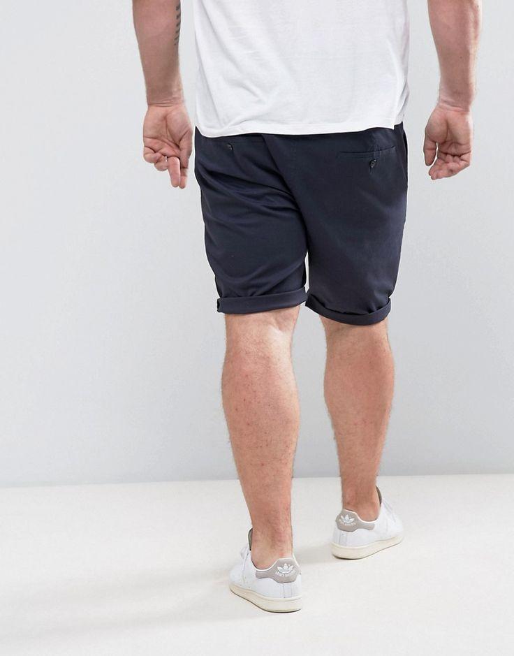 ASOS PLUS Skinny Chino Shorts In Navy - Navy