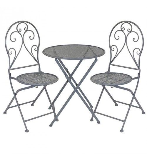 S_3 METAL TABLE W_2 CHAIRS IN GREY COLOR D60X70