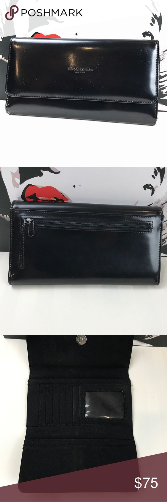 "kate spade Black Trifold Wallet Gently used Kate Spade, trifold patent leather, snap closure, zipper coin pouch on back, fabric interior, 6 card slots& id slot, 4 long slots.  This is pre-loved, in Great condition, please look at last photo there are some wear marks.  ||  7.5"" wide, 4"" high, 1"" thick.                                                                