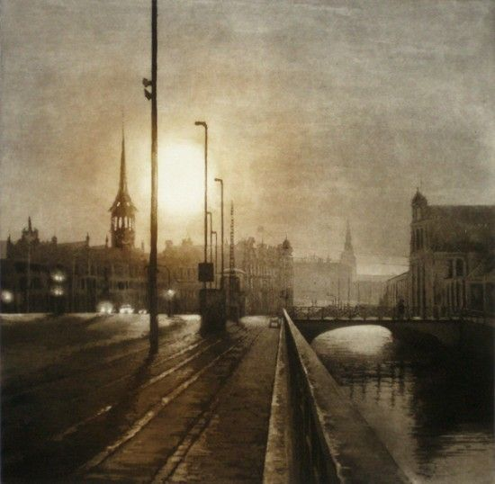 Urban Light V, by Anja Percival Etching 2013