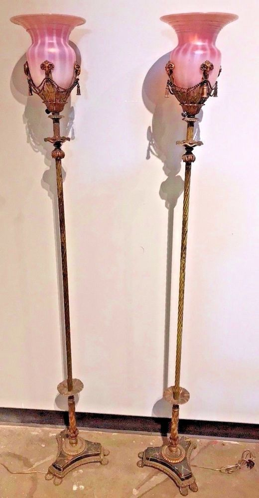 Antique pair of American gilt metal and blown glass floor lamps, circa 1910. #NeoClassical