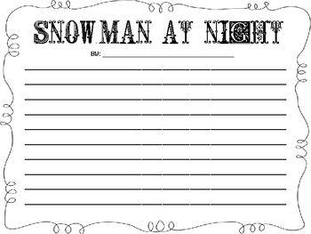 FREE Snowman at Night writing paper