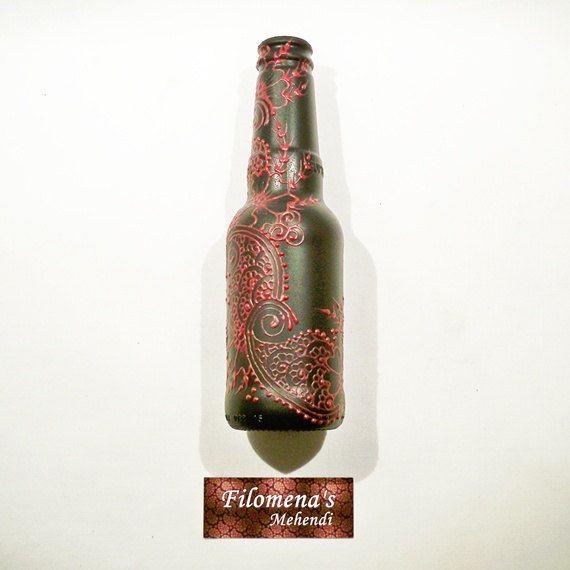 Upcycled bottle Bottle vase Decorated bottle by FilomenaMehendi