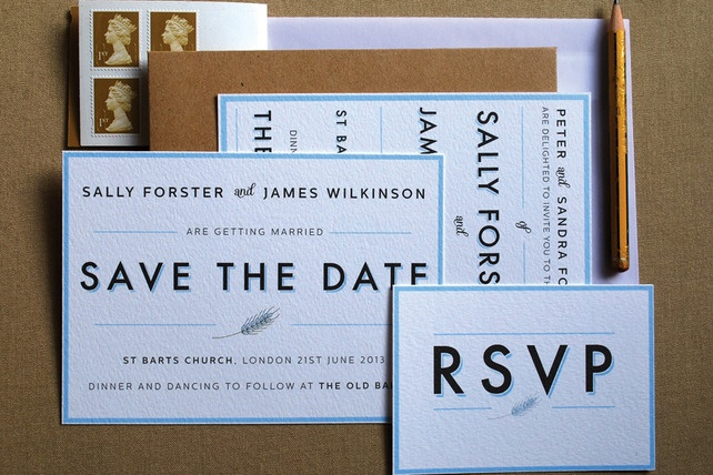 Bakery wedding collection. Customised save the date, invitation and RSVP card £6.50