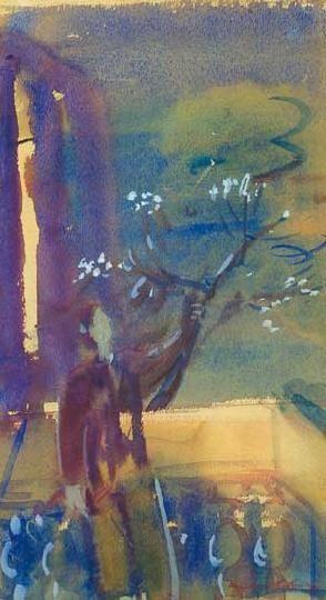 Márffy Ödön (1878-1959) Erkélyen Akvarell, papír, 28,5x16,5 cm