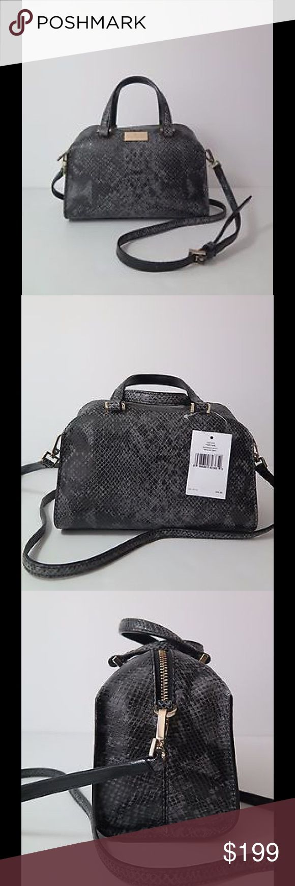 """HP🎉 Kate Spade Mini Mara Parliament Square Exotic Exotic snake print genuine Leather  Top zip closure  Approximately measures:  Height 6.5"""" x Depth 4.5"""" x Width 9"""" ; Handles 3"""" drop  Adjustable, removable cross body shoulder strap 22"""" max  14 karat light gold plated hardware  Interior zipper pocket and two open pockets  Back slide pocket  A structured silhouette with snake-patterned accents offers an appealing blend of classic and edgy style  Brand new with tag; retail price $365  Smoke…"""