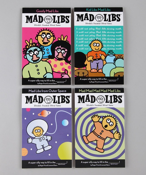 As good for grammar as they are for the funny bone, Mad Libs are interactive stories that allow kids and adults alike to insert similar parts of speech into situational stories, resulting in outrageous outcomes! Suitable for sleepover parties, road trips or just good ol' fashioned goofing off, this super set comes equipped with more than enough Mad Libs to keep kids laughing for weeks. ~Mrs.SJC