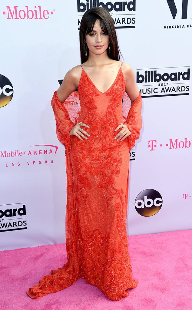 Camila Cabello from Billboard Music Awards 2017: Red Carpet Arrivals  The former Fifth Harmony singer was a lady in red on the Billboard Music Awards' pink red carpet.