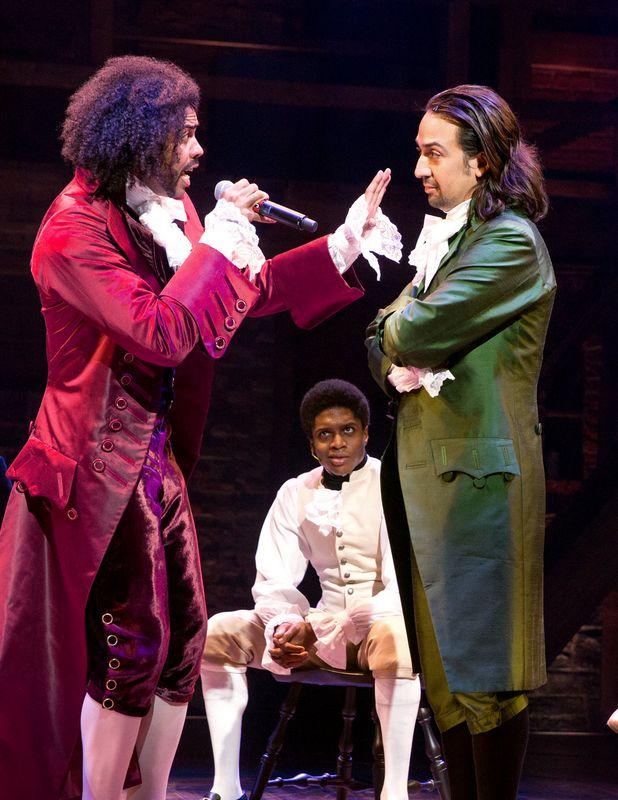 Daveed Diggs (Jefferson) and Lin-Manuel Miranda (Hamilton) in Hamilton #musical - Cabinet Battle