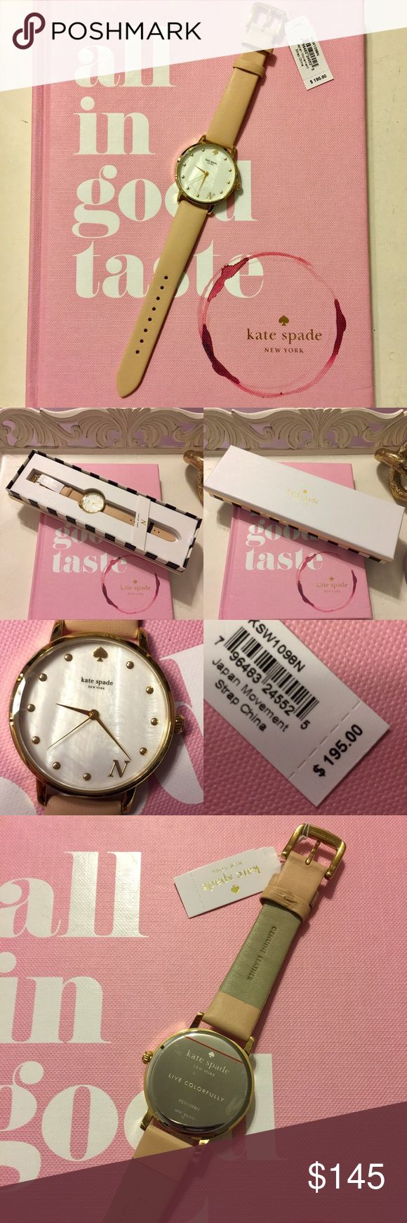 """Kate Spade Monogram Watch NWT Simple and classic 100% authentic Kate spade watch NWT... """"N"""" monogram watch. Genuine leather band. I believe the face is mother of pearl. Comes in original box with care instructions booklet. Negotiable with reasonable offers 👛 {less $ on merc} kate spade Jewelry"""