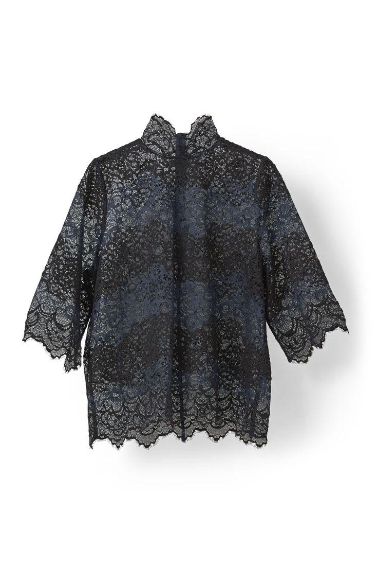 Parker Lace Blouse Blue/Black
