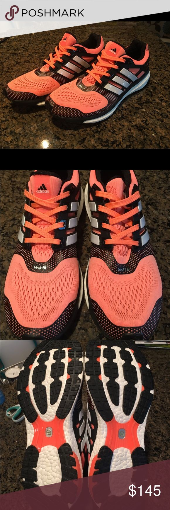 NWOB Adidas Energy Boost ESM Adidas Energy Boost ESM for Adidas running. **BRAND NEW CONDITION**NO LONGER SOLD IN STORES OR ONLINE** Orange/peachy color. Worn once to try on, little too big for me. Women's 10 but will fit a women's 9-9.5. No stains or any show of wear on treads or shoes. Made with Techfit and Boost technology to give you comfort and an adaptive run. Literally so comfy. Purchased at official Adidas event in Dec. 2016. NWOB, comes w/o box as that's how it was purchased. Adidas…