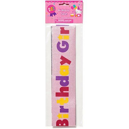 Hello Kitty Birthday Girl Sash, Party Supplies, Multicolor