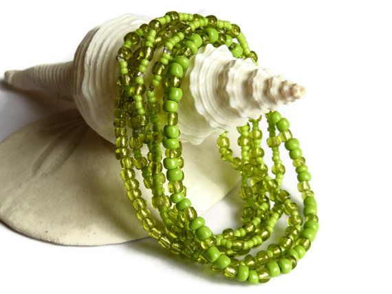 6 lime green seed bead bracelets stretch bracelets by xEsFunThings, $10.00