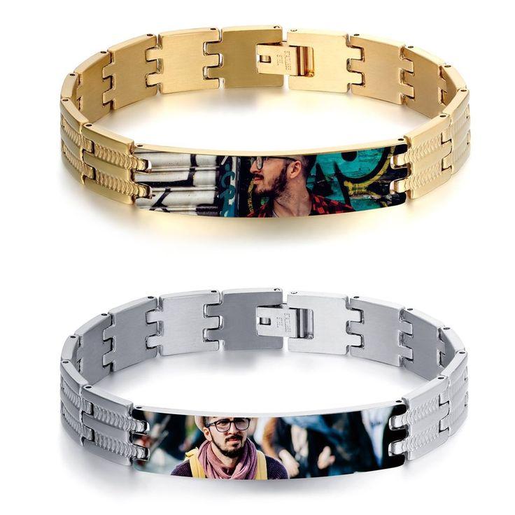Men's Personalized Photo Picture Logo Custom DIY Engraving Polish Bracelet Chain #Unbranded #Chain