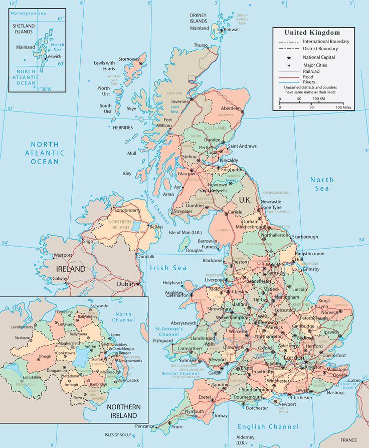 Map United Kingdom Europa England Und Karten