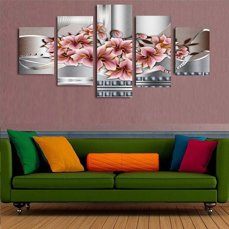 Unframed 5 piece irregular magnolia large canvas art wall painting abstract canvas art home decoration room canvas print