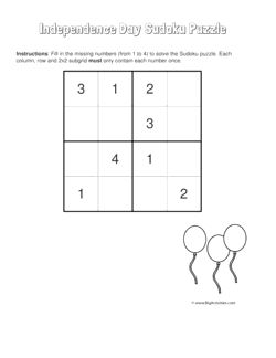 Independence Day sudoku puzzle with a picture of balloons. 4 levels of difficulty. Sudoku puzzle changes each time you visit