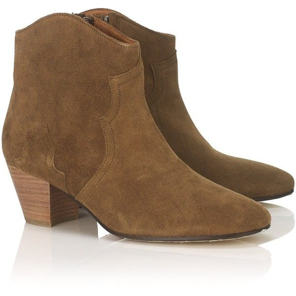 Isabel Marant Brown Suede Leather Dicker Boots (3.275 VEF) ❤ liked on Polyvore featuring shoes, boots, ankle booties, zapatos, brown, brown boots, chukka boots, round chimney cap, brown booties and brown suede boots