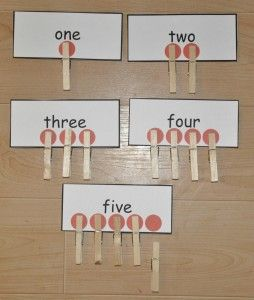 one-to-one correspondence counting clothes-pin activity. need to show the digit, too.