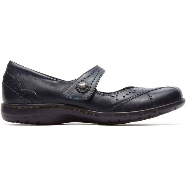 Cobb Hill Women's Petra Mary-Jane Navy Flats ($100) ❤ liked on Polyvore featuring shoes, flats, blue, flat shoes, navy blue shoes, navy flats, navy blue flat shoes and leather flat shoes