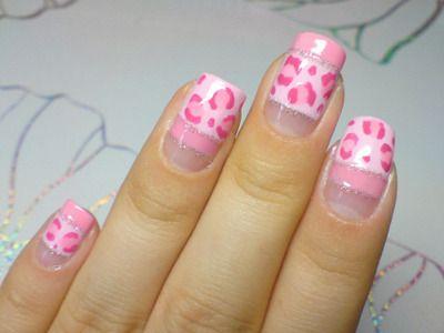 cute pink leopard nails