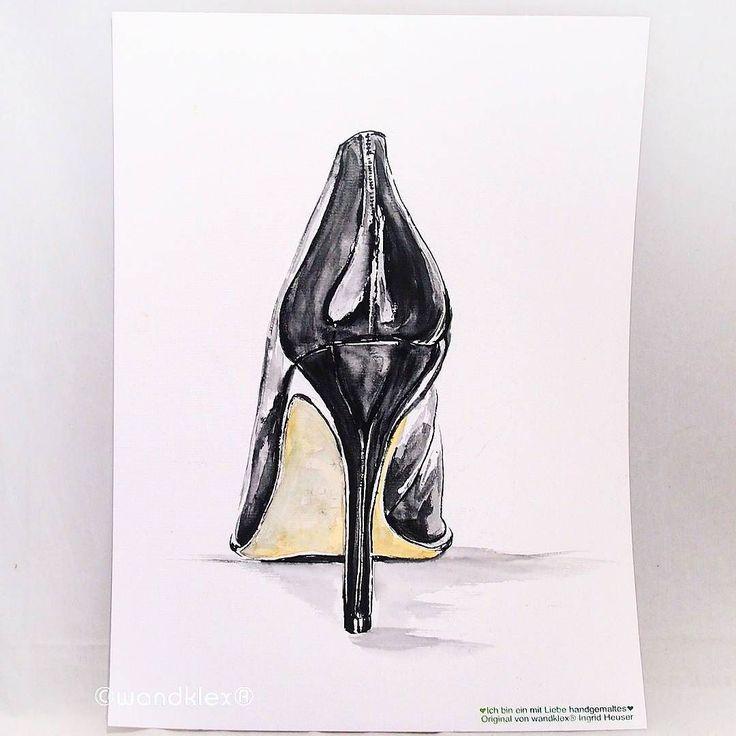 Warum nur musste ich beim Malen auch @UteWeber denken und an https://twitter.com/UteWeber/status/554680159388061698  diesen legendären Tweet? . . Dieses Bild ist unverkäuflich aber auf Wunsch kann natürlich gerne eine entsprechende Sonderanfertigung entweder im #etsyshop wandklex.etsy.com oder #dawandashop wandklex.dawanda.com bestellt werden. . . .  #wandklex #malerei #handgemalt #aquarell #hahnemühle #kunst #art #watercolor #watercolour #highheel #stöckelschuh #heels #schuh #absatz…