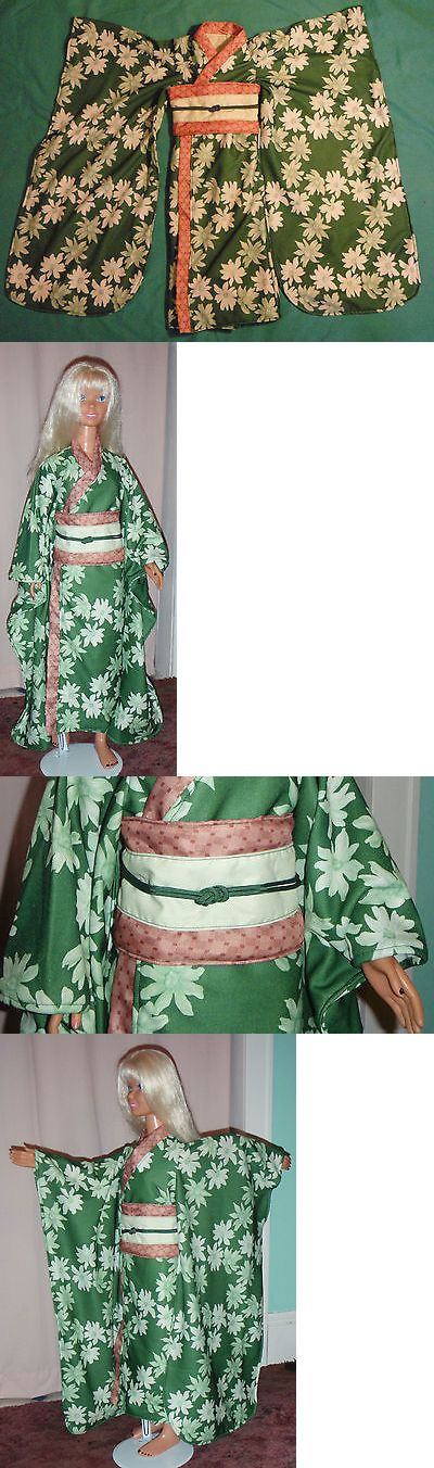 Custom Handmade Barbie Clothing: Dark Green And Cream Floral Print Shin Length Kimono For My Size Barbie Mycs03 -> BUY IT NOW ONLY: $44.25 on eBay!
