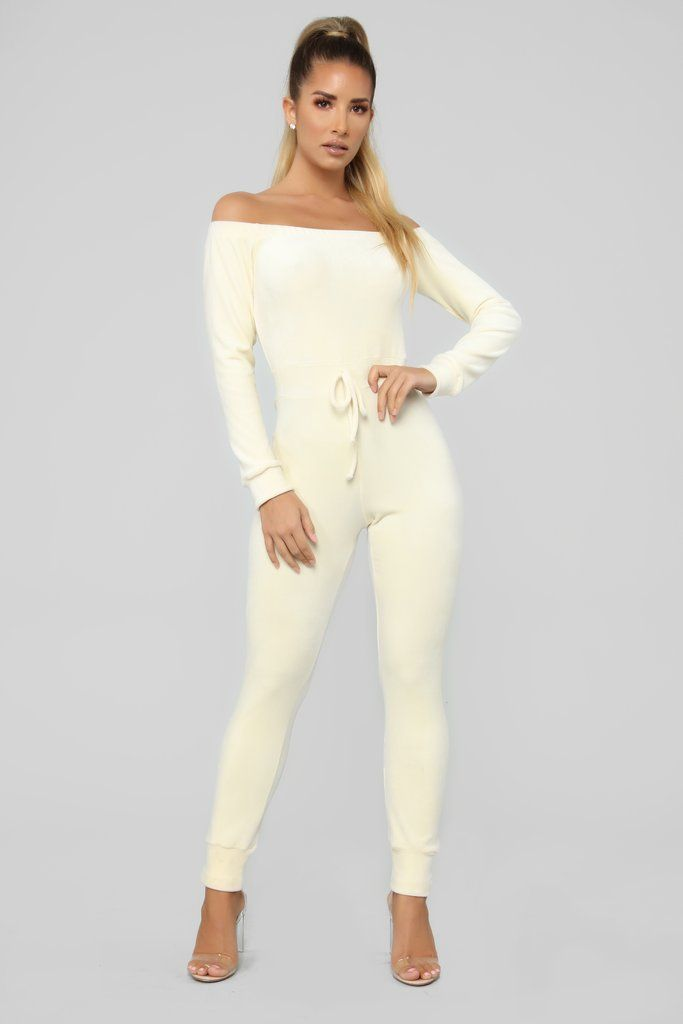 Need A Hug Velour Jumpsuit Ivory Velour Jumpsuit Warm Outfits Fashion Nova Outfits