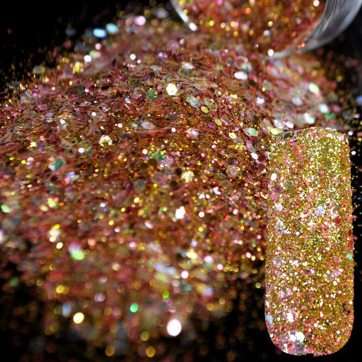 Dazzling Abalone Sequins Dust Nail Glitter Decorations Nail Art Designs Gold Pink Acrylic UV Mix Glitter Powder 3D Nail Art 280
