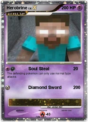 Minecraft Cards to Print | Minecraft Herobrine Pokemon Cards Printable