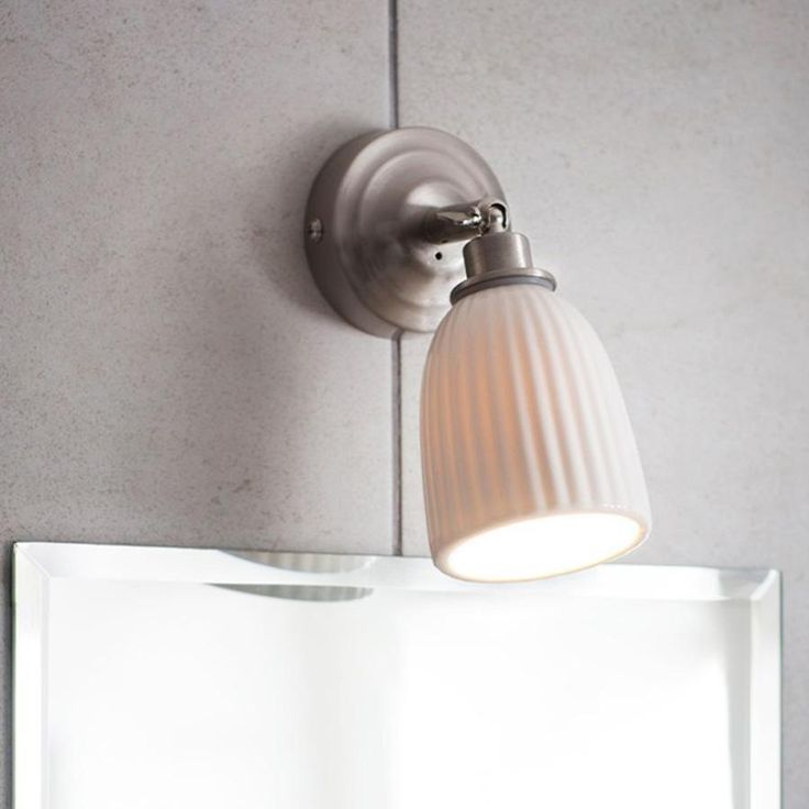 Alma Bathroom Spotlight in Satin Nickel - Ceramic from The Farthing