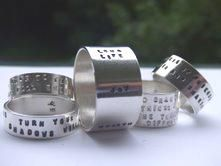 Beautiful sterling silver poetry rings by Ailish Roughan