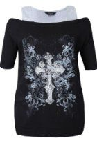 Yoursclothing Womens Plus Size Short Sleeve Bardot Top With Silver Foil Cross Pr