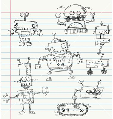crazy robot doodles