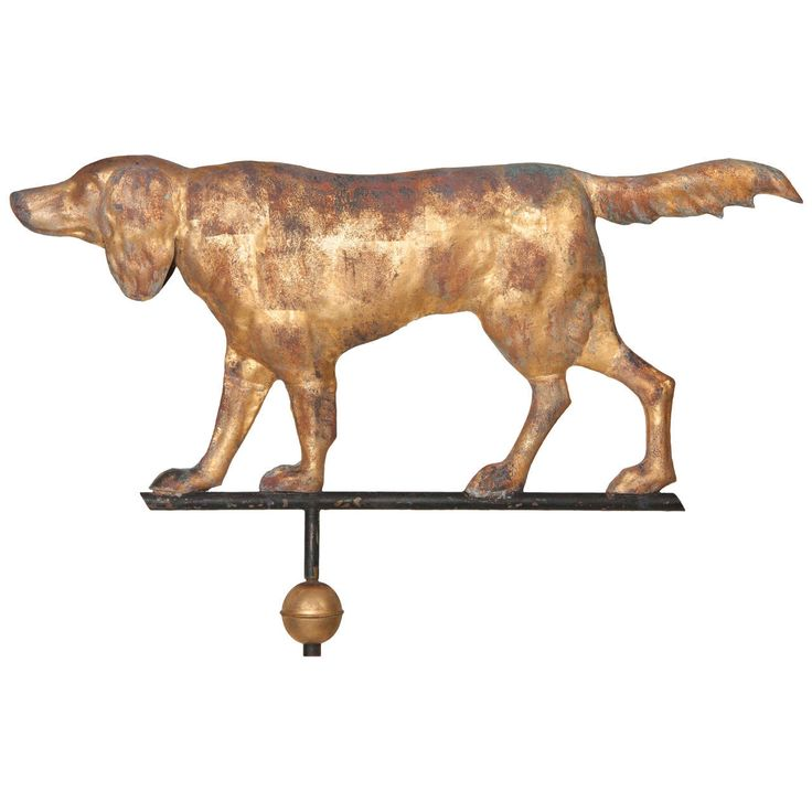 Massachusetts Full-Bodied Setter Weather Vane with All Original Elements | From a unique collection of antique and modern weathervanes at https://www.1stdibs.com/furniture/folk-art/weathervanes/