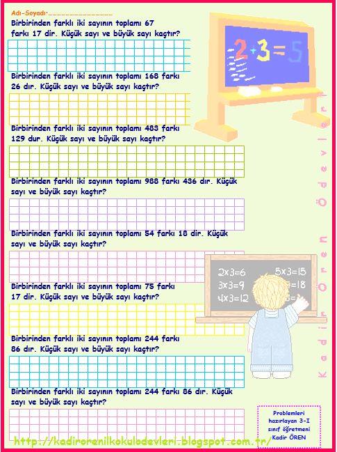 ilkokul ödevleri: 3. sınıf sayı problemleri 2