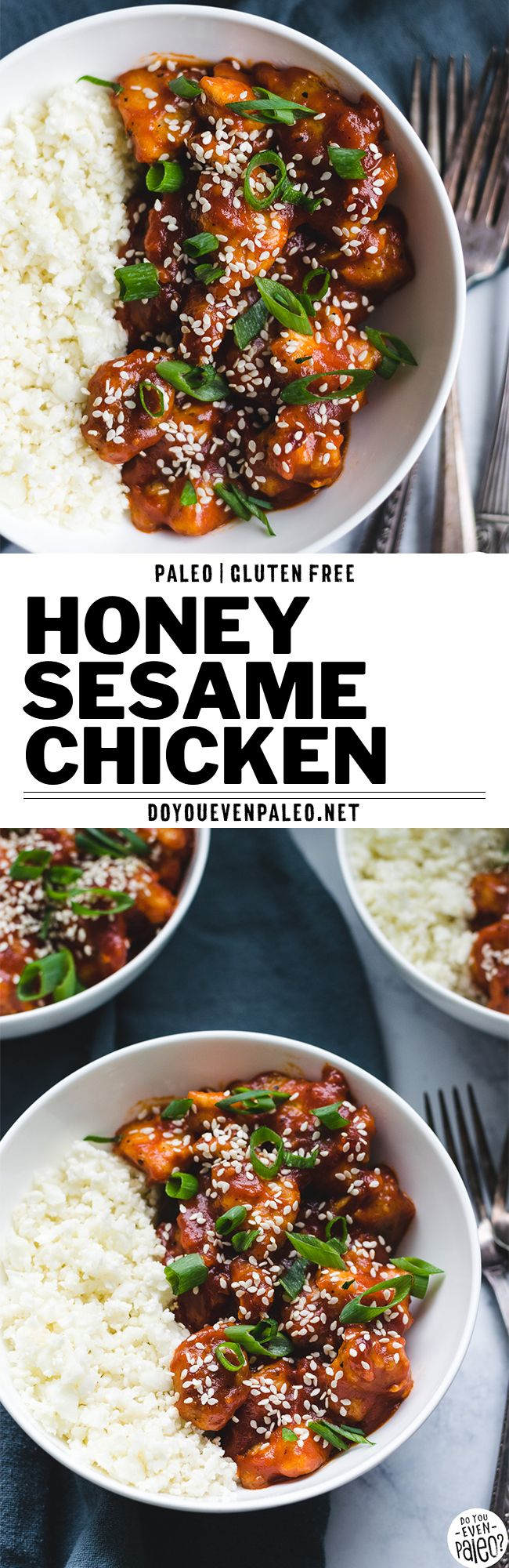 Your new healthy dinner recipe go-to! This paleo honey sesame chicken is an easy, quick gluten free dinner recipe. Plus, it's a paleo recipe. Quick and easy - serve with cauliflower rice or white rice to make it a full meal. | DoYouEvenPaleo.net #glutenfree #paleo