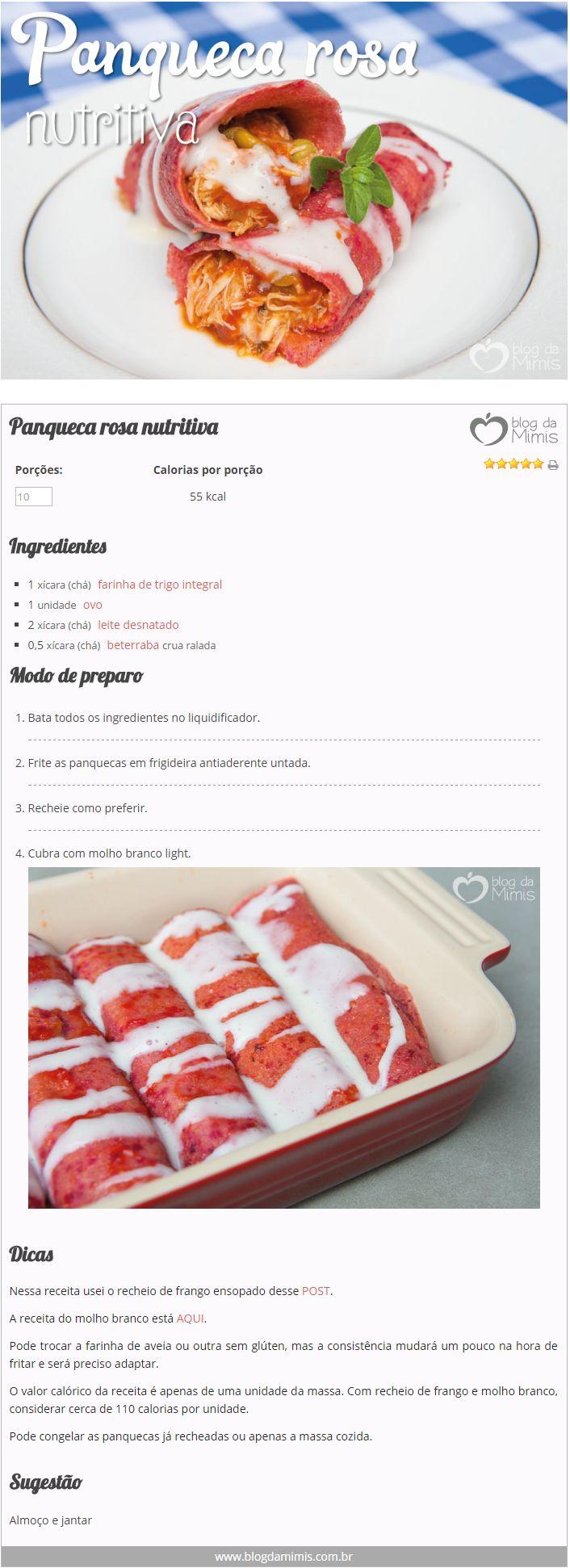 Panqueca rosa nutritiva - Blog da Mimis #panqueca #rosa #receita #dieta #emagrecer
