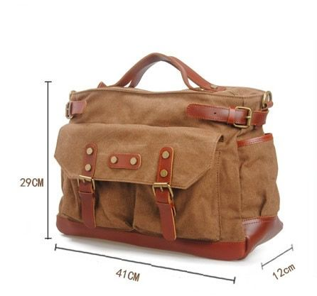 Vintage Handmade Genuine Crazy Horse Leather Business Travel Bag / Messenger Bag / Duffle / 13' 15' 17' MacBook / 17' Laptop Bags (m6859-1) - Thumbnail 1