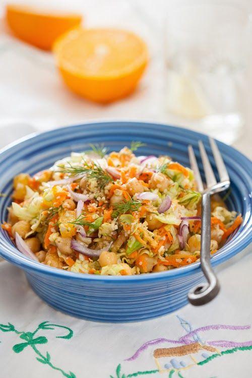 Vitamin Garbanzo Beans Salad - Healthy Lunch #salad, #garbanzo, #hemp_seeds, #healthy, #lunch, #onion, # herbs, #orange, #apple, #carrots