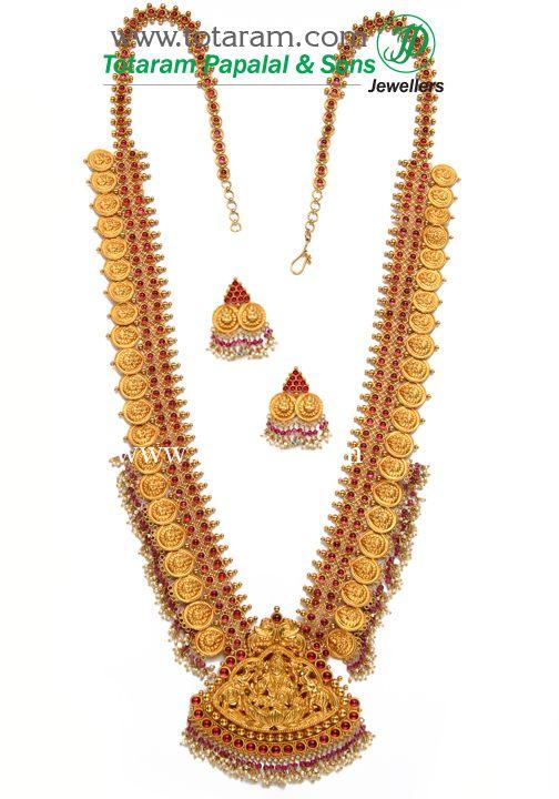 22K Gold  '2 in 1' Lakshmi Long Necklace & Ear Hangings Set (Temple Jewellery) $8971